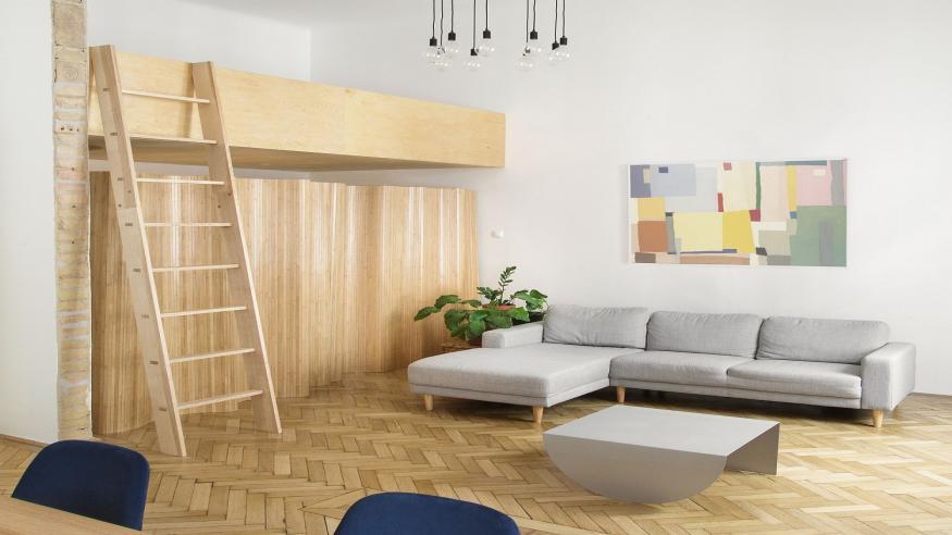 Làm mới căn hộ với gỗ tự nhiên và màu trắng